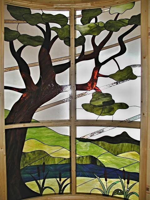 ohýbaná vitráž krajina