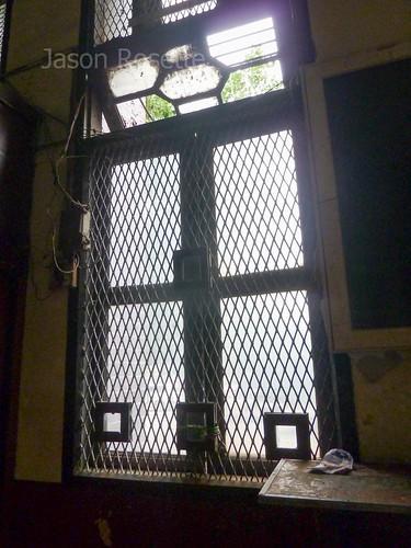 Window in Main Post Office, Downtown Rangoon, Burma