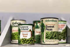 Vintage can collection of Green Giant Young Teder Sweet Peas at The Giant Welcome Center and Museum in Blue Earth, Minnesota