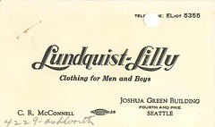 Lundquist-Lilly business card, circa 1955