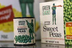 Green Giant can of Very Young Tender Sweet Peas and frozen Sweet Peas package at The Giant Welcome Center and Museum in Blue Earth, Minnesota
