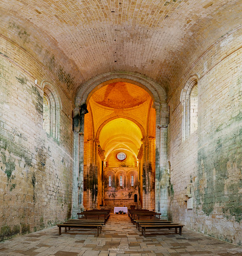 Interior and detail of the abbey of Saint Amand de Coly in the Périgord Noir in France