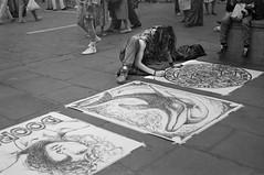 York 1969 - street artist in St Helen's Square.