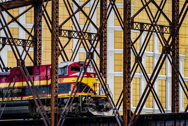 Train on Bridge (Horseshoe Casino in the Background)