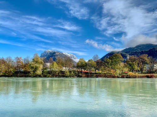 River Inn and Zahmer Kaiser mountains in autumn near Kufstein, Tyrol, Austria