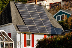 Solar Panels on the Roof of a Stucco Home