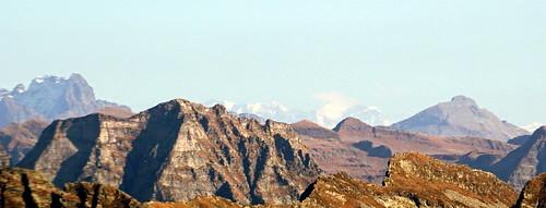 Near Passo Quadrella, view of Torent Alto, Piz Bernina (faint), Piz Roseg (faint), Piz di Campedell
