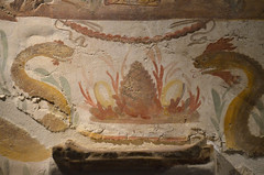"Detail of Lararium with altar and niche, decorated with domestic Gods and food offerings, mid 1st century BC, from Terzigno Villa 6 (kitchen), Exhibition: ""Pompeii And Santorini. Eternity In A Day"" at the Scuderie Del Quirinale, Rome"