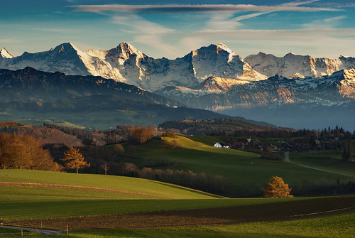 Let's go see an Autumn  Twilight Time . The  Swiss Alps , a  view from Gurten. Canton of Bern , Switzerland. No, 0103.