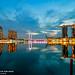 Catching up sunrise behind the Marina Bay Sands, Singapore