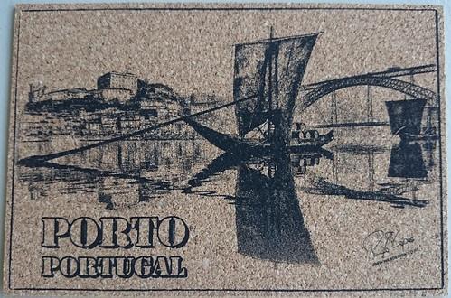 Postcard made of cork, depicting part of UNESCO WHS Historic Centre of Oporto, Luiz I Bridge and Monastery of Serra do Pilar, Porto, Portugal
