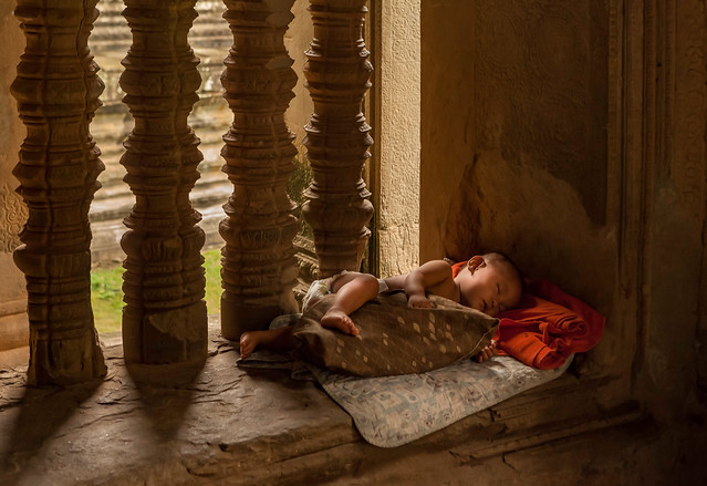 Sleeping child in Angkor Wat