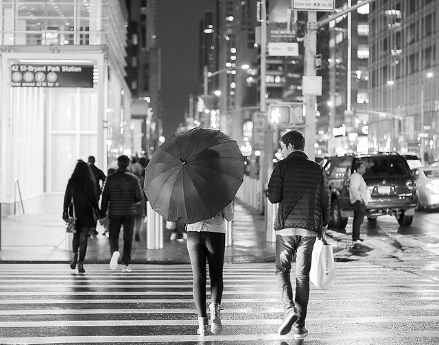 NYC couple after the rain