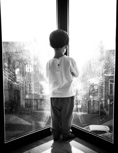 Son in Window - Black and White