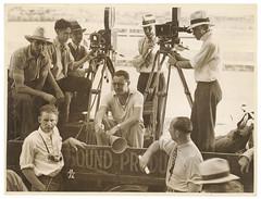 Crew on set of Cinesound-Ken Hall film, Thoroughbred, 1935-1936, Sam Hood