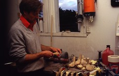 I verkstedbua med køllemaker Keith (ca. 1987)
