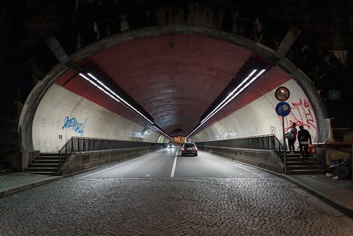 Into Tunel da Ribeira in Porto