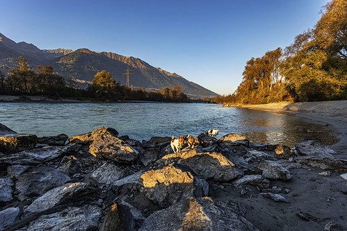 Sunrise on the river Inn, Eigenhofen Tyrol.