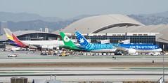 LAX International (Pacific) side - Asiana A380 HL-7834, EVA 777 -300 (ER) B-16712, Air Tahiti Nui 787 -9 F-ONUI DSC_0302