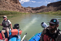 BLM park rangers survey Utah's Desolation Canyon Area by rafts in the Green River