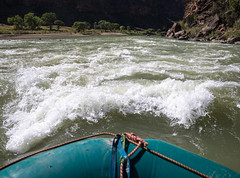 First person view of white water rafting in the Green River of Utah's Desolation Canyon Area