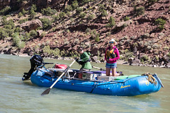 Explorers whitewater rafting down the Green River of Utah's Desolation Canyon Area in a raft