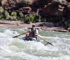 A park ranger whitewater rafting in the Green River of Utah's Desolation Canyon Area