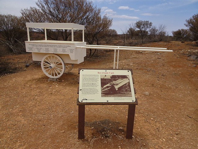 Broken Hill.  Replica of the ice cream cart used by Muslim Pakistani cameleer Gool Mahomed. He attacked and killed picnickers 1 Jan 1915. He was killed here after the killing of several picnickers.