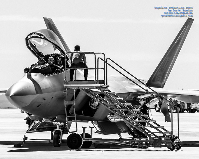 Three F-22 Demo Team Maintainers Getting the Raptor Ready to Fly