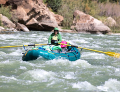 A park ranger white water rafts down the Green River of Utah's Desolation Canyon Area