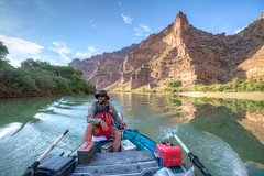 An explorer navigates the Green River within Utah's Desolation Canyon Area