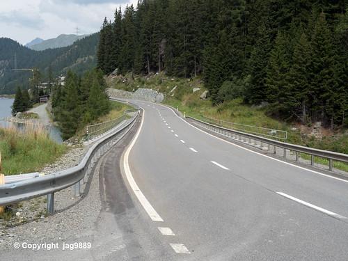 JUL200 Julierstrasse Road Bridge over the Gelgia River, Marmorera - Bivio, Canton of Grisons, Switzerland