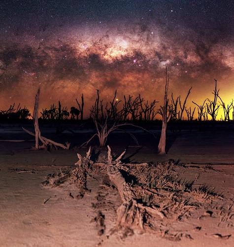 Milky Way setting over Yenyening Lakes, Western Australia