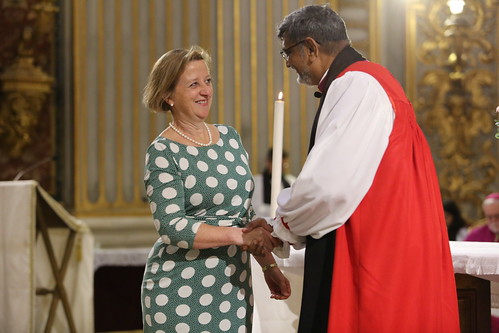 Her Excellency Mrs Sally Axworth, British Ambassador to the Holy See, greets Archbishop Ian Ernest