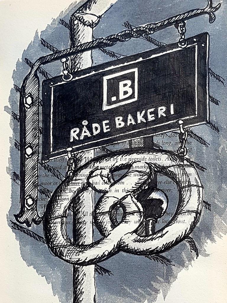 Wooden bakery sign near Axelbrottet