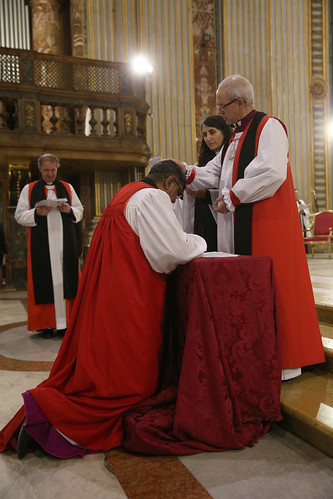 The Archbishop of Canterbury blesses Archbishop Ian Ernest
