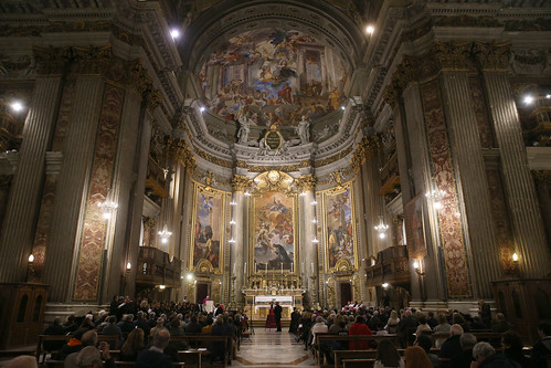 The congregation assemble in The Church of St. Ignatius of Loyola
