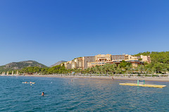 A view from the sea to Robinson Club Sarigerme Park, Turkey