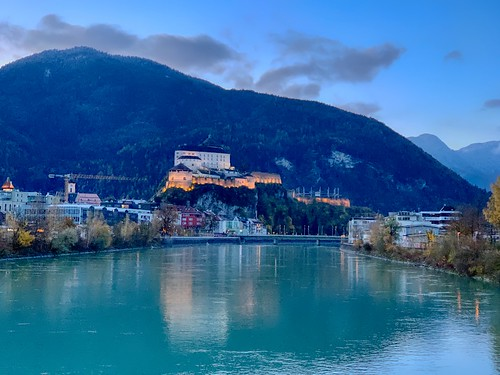 Kufstein fortress and river Inn at morning in Tyrol, Austria