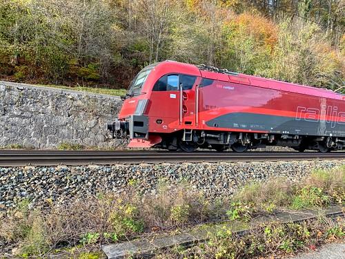 ÖBB railjet express train near Kufstein, Tyrol, Austria