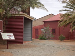 Broken Hill. The entrance to the grounds of the mosque. Its signage is wrong. It is not the only mosque in Australia and it was not the first. Adelaide mosque was built in 1889. This tin shed was built in 1891. Some say part was built in 1887.