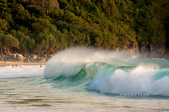 Nai Harn beach panorama in storm. People in the waves. Phuket, Thailand
