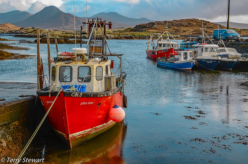 Secluded harbour at Derryherbert in County Galway  Ireland