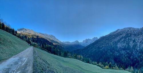Sunrise over Zahmer Kaiser mountains near Kufstein, Tyrol, Austria