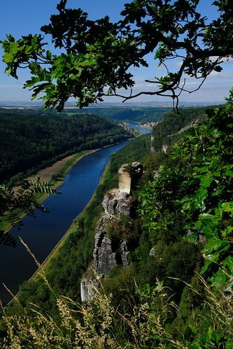 Blick von der Bastei auf die Elbe / Sächsische Schweiz / Sachsen (Saxony)