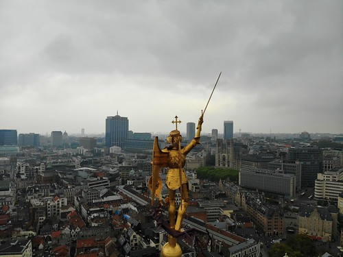 Amazing view from above. The capital of Belgium. Great Brussels. Very historical and touristic place. Must see. View from Drone. Holy place, great Statue