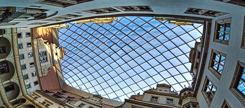 Modern ceiling, historic castle