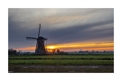 Sunset Hoge Boezemmolen nr. 6 - achter Haastrecht - Vlist - Rijksmonument 🇳🇱