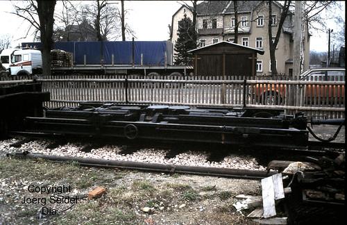 DE-08237 Rothenkirchen Bahnhof 750 mm Rollwagen im März 1991