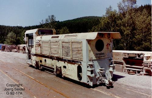 DE-08304 Schönheide Abwasserüberleitungsstollen Schönheide 750 mm Gleisförderanlage mit Schöma Diesellok 4967/1988 der Baufirma Ast  im Juni 1998